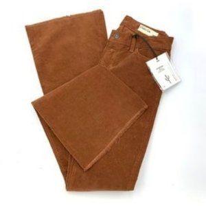 PISTOLA Flare Mini Corduroy Pants in Chestnut